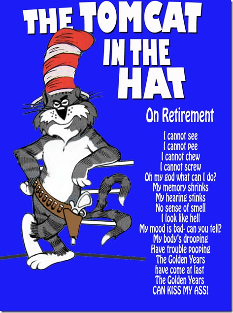 Tomcat in the hat on retirement