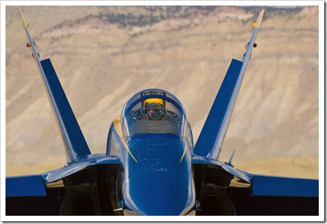 Blue Angel #3 Lieutenant Mark Swinger, waits to Taxi during a practice session at Grand Junction Colorado.