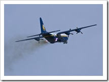 Blue Angel Captain Brendan Burks, pushes Fat Albert over the top following a JATO departuer from Grand Junction