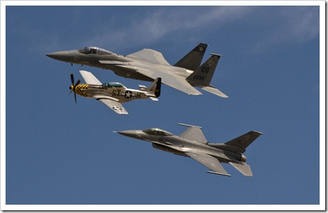 Air Force Heritage Flight, F-15, F-16 and P-51
