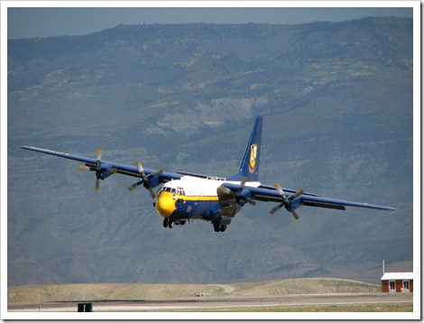 "Captain Brendan Burks makes a quick correction in line up in preparation for the Fat Albert ""Short Field Landing"""