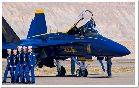 The 2008 Blue Angels march to their planes at Grand Junction
